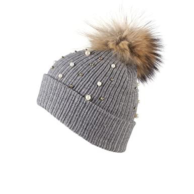 098d85f3d1e HAT263-Grey Rib Knit Bobble Beanie Hat with Detachable Faux Fur Pom Pom and  Plastic Pearl Embellishments  Amazon.co.uk  Clothing