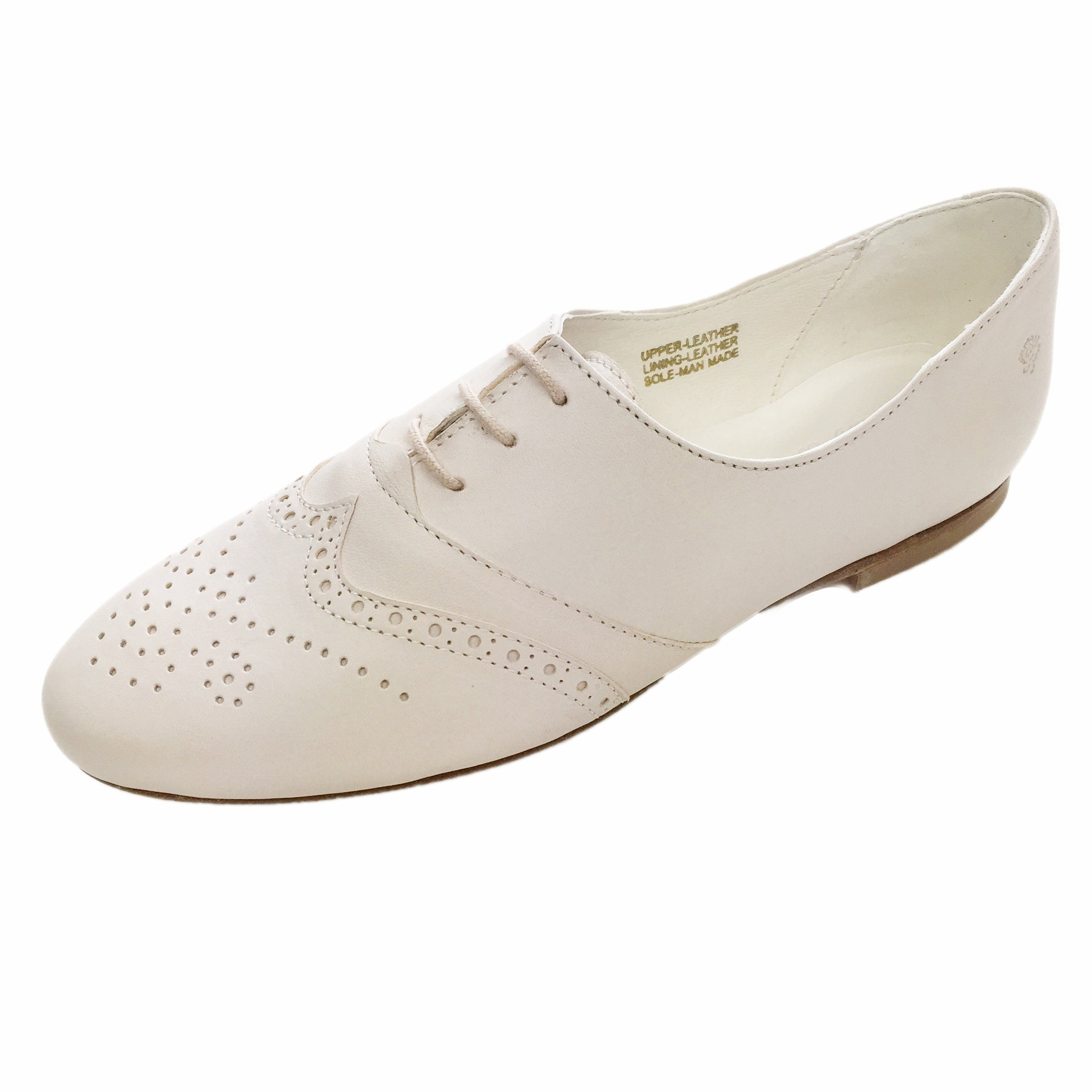 Chebran Oxford | Narrow Width | Made In Portugal | Off-White Leather Flats | Size 8 by Chebran