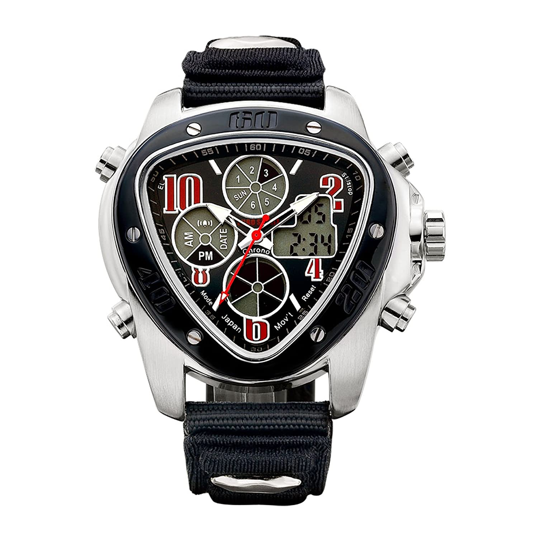 Euro Spirit Datum Display Herren Schwarz Rot Silber LCD Hintergrundbeleuchtung Quarz Armbanduhr