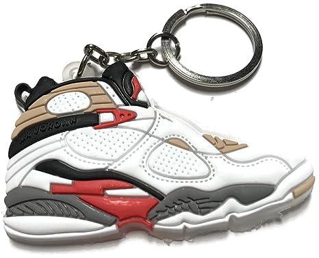 5ed0fb7d972b53 Air Jordan Retro 8 Bugs Bunny White Red Black Gray Shoe Keychain  Collectable  Amazon.co.uk  Clothing