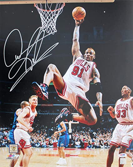 low priced 75e7a 91be1 Dennis Rodman Autographed Picture - 16X20 vs Hornets - PSA ...