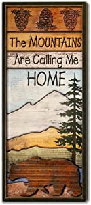 """Rusty Roof Studio- The Mountains are Calling Me Home-Corrugated Galvanized Metal and Wood Wall Art Creates A Beautiful 3D Effect-22"""" x 10"""" x 1"""""""