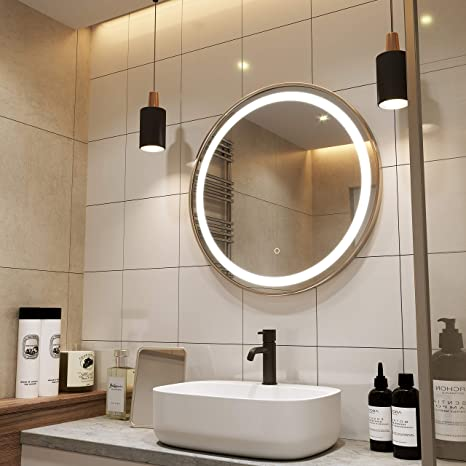 Amazon Com Petushouse 24 Inch Gold Round Led Lighted Bathroom Mirrors 4069 Lumen Wall Mounted White Light Dimmable Memory Button Waterproof Cri 90 5mm Copper Free Mirrors Kitchen Dining