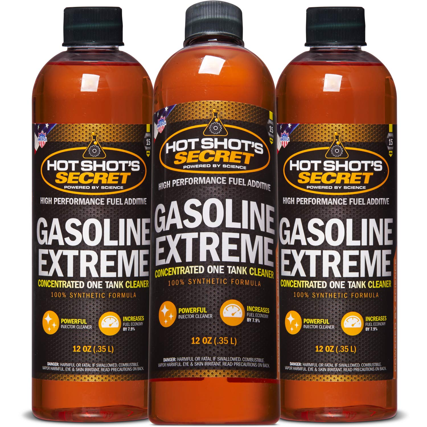 Hot Shot's Secret 3 Pack - Gasoline Extreme - Concentrated Injector Cleaner - 12 OZ Bottle Restores for 10K Miles by Hot Shot's Secret
