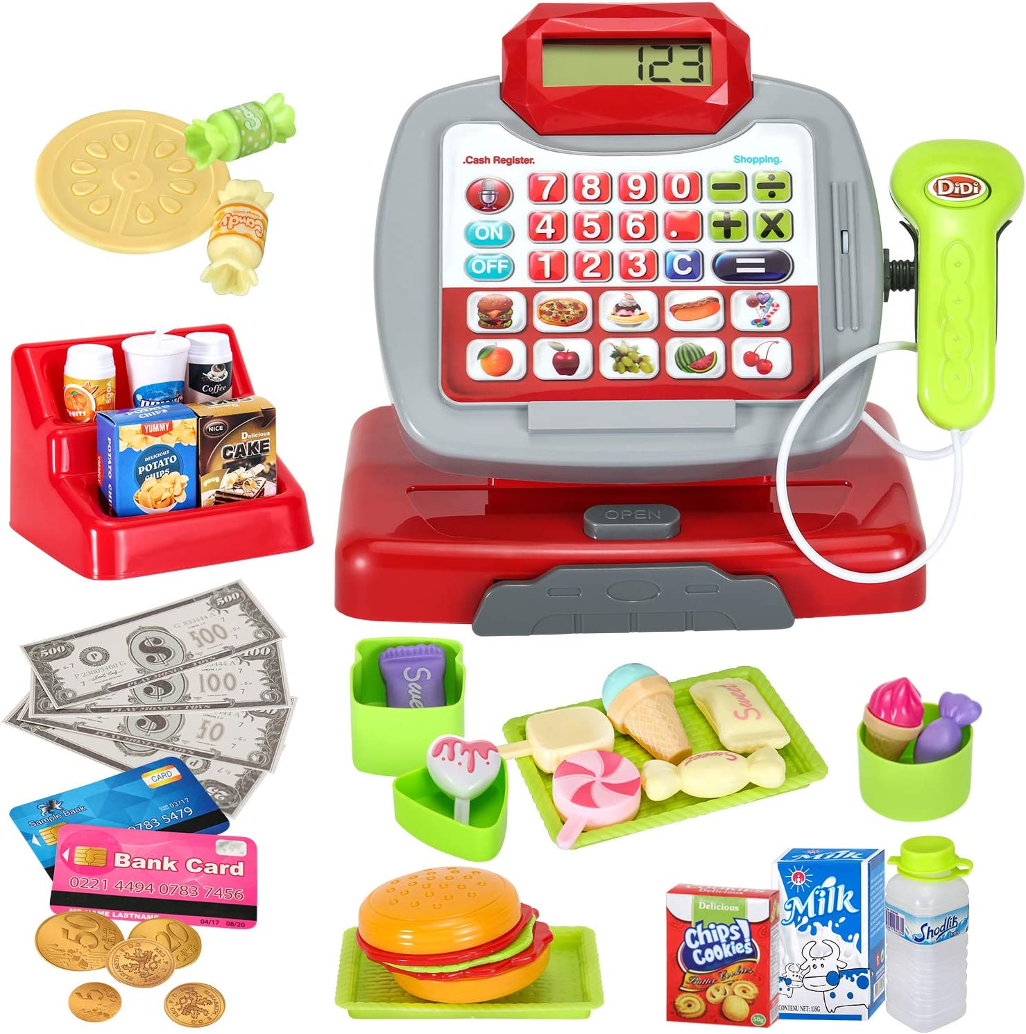 FUNTECH Pretend & Play, Calculator Cash Register with Real Scanner, Microphone, Play Food, Mini Supermarket Cashier, Great Pre-School Gift for Kids, Toddlers, Boys & Girls, Ages 3+