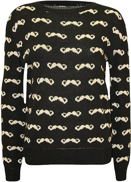 WearAll - Damen-Schnurrbart-Muster Long Sleeve Top Damen Pullover ...