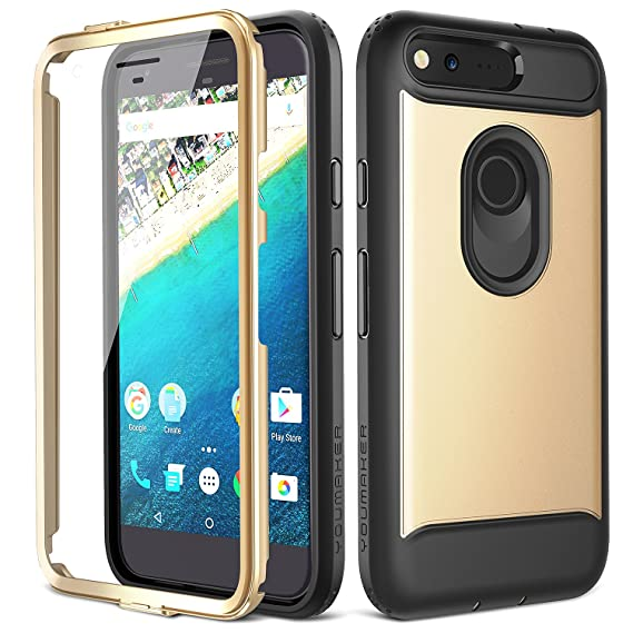 reputable site c1e38 84fdd Google Pixel Case, YOUMAKER Slim Fit Full-body Rugged Heavy Duty Protection  Cover Case with Built-in Screen Protector and Belt Clip Holster for Google  ...