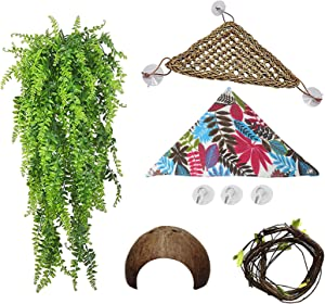 PINVNBY Bearded Dragon Hammock Lizard Natural Seagrass Habitat Reptile Tank Accessories Coconut Shell Hut Jungle Climber Decor for Chameleon,Gecko,Snake,Lizard and Hermit Crabs