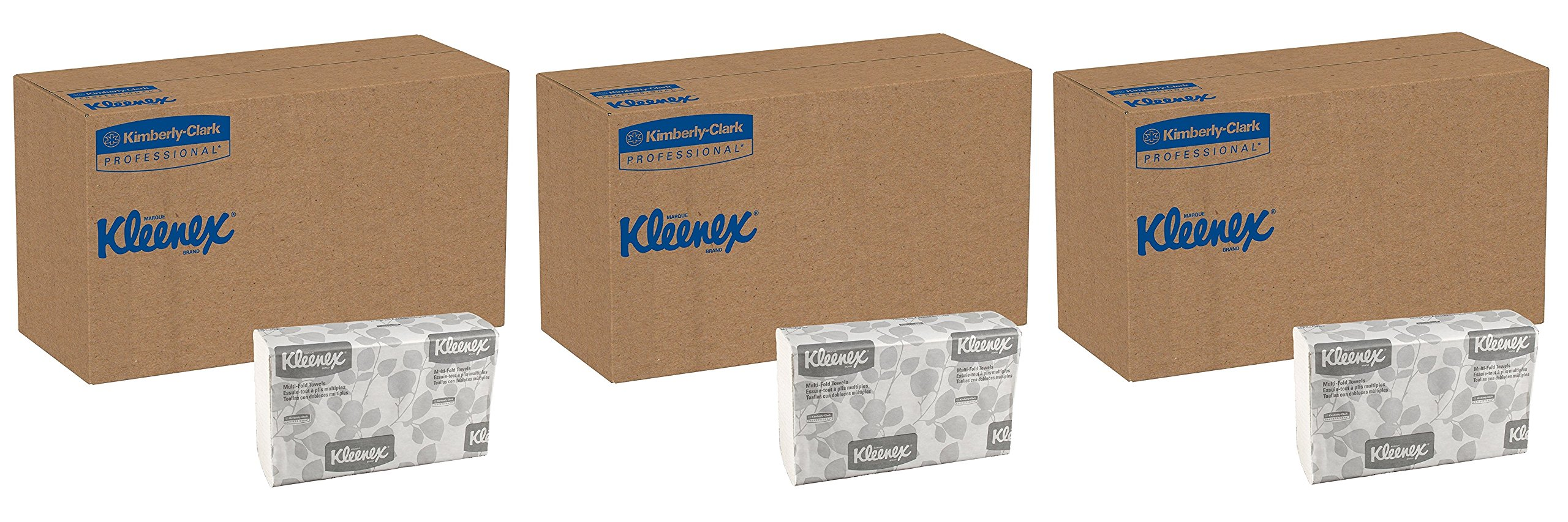 Kleenex 02046 Multi-Fold Paper Towels, Convenience, 9 1/5x9 2/5, White, 150 Per Pack (Case of 8 Packs) (3 CASES)