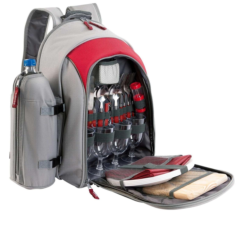 *Picknick-Rucksack mit Picknick-Geschirr 4 Personen Isolierfach Lunchtasche Besteck*