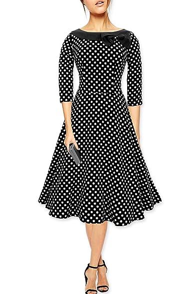 50s black with white polka dot dress