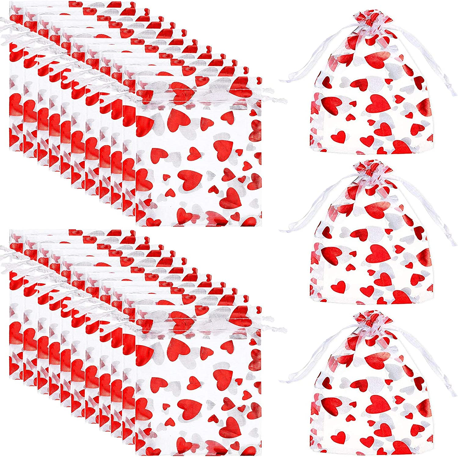 Llxieym 150 Pieces Valentine's Day Love Heart Organza Bags Gift Bags Jewelry Pouches Drawstring Pouches Candy Goodies Bags Food Storage Bags for Valentine's Day Wedding, 3 x 4 Inches