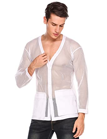 Coofandy Mens Casual See Through V Neck Cardigan with Pockets Fashion  Fishnet Mesh Shirts Top 0a37d7657
