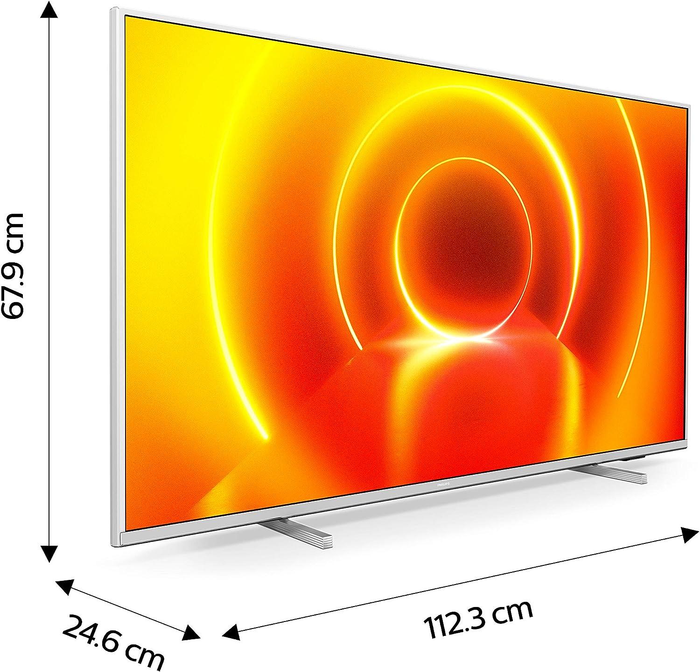 Televisor 4K UHD Ambilight Philips 50PUS7855/12 de 50 pulgadas (P5 Perfect Picture Engine, Asistente Alexa integrada, Smart TV, Función de control por voz), Color plata claro (modelo de 2020/2021): Amazon.es: Electrónica