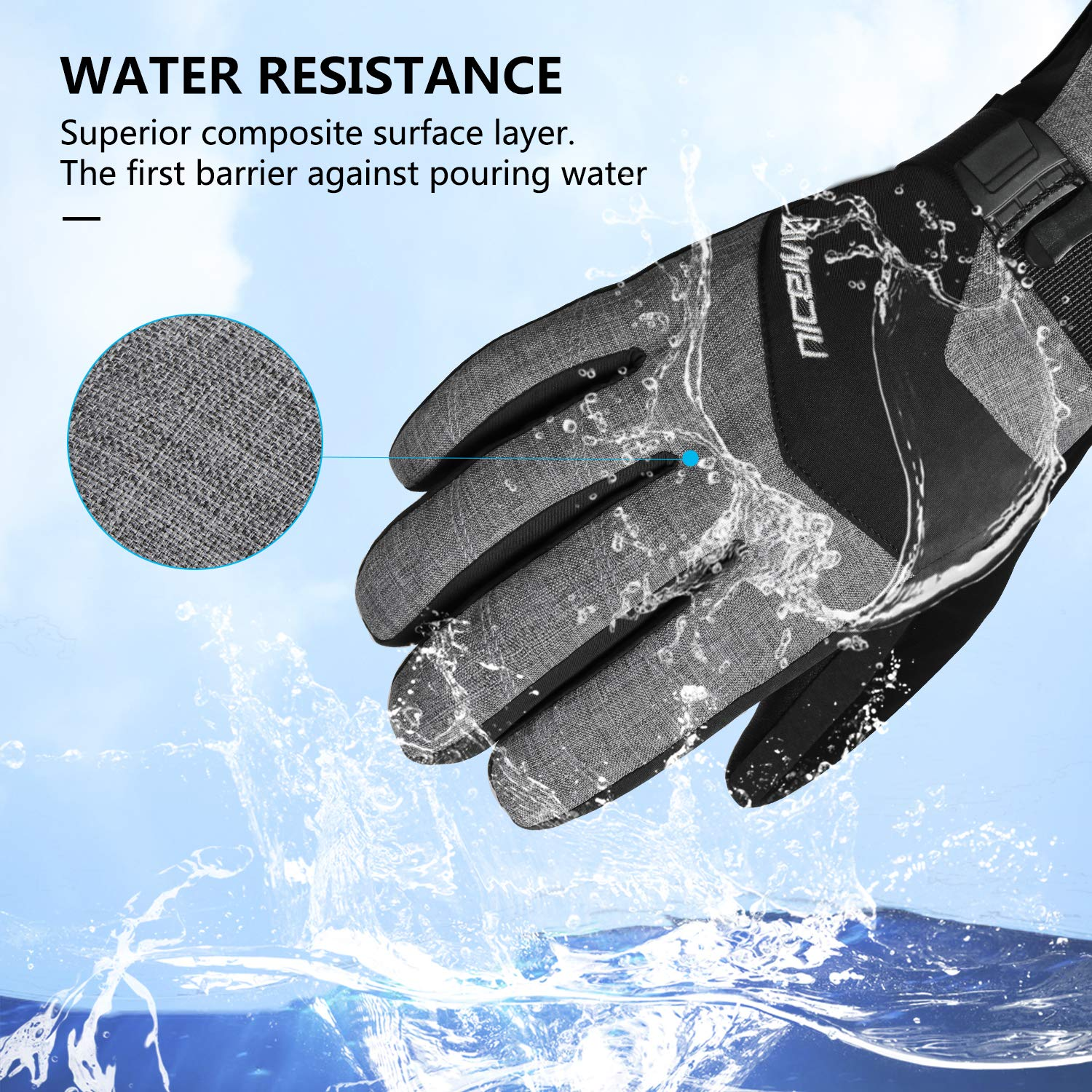 NICEWIN 2019 New Winter Ski Gloves Men Women Windproof Warm Winter Cold Weather Gloves for Outdoor Sports Skiing Snowboarding Shoveling Snow