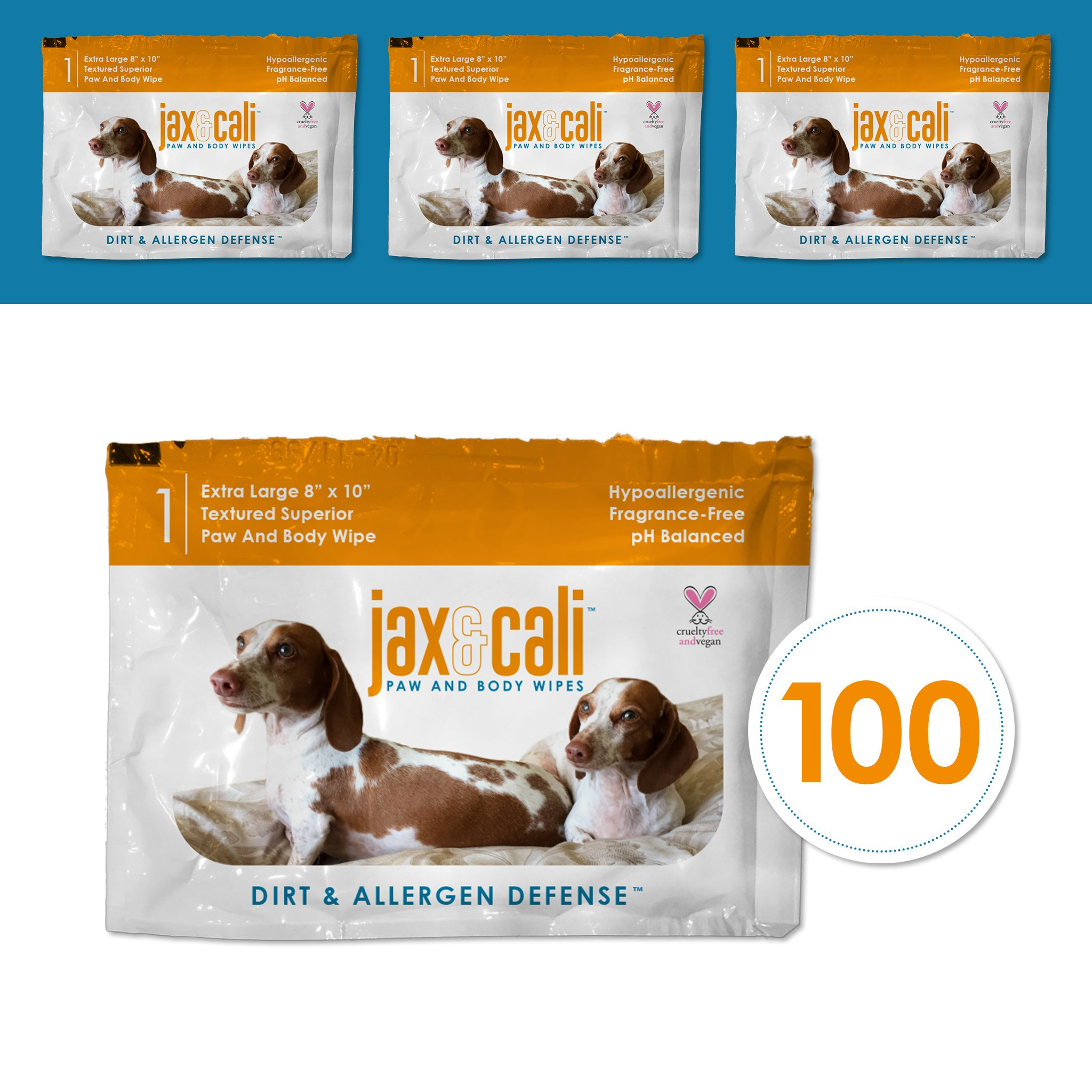 JAX & CALI All-Natural Extra Large Pet Wipes - All Natural Hypo-Allergenic and Vegan Wipes for Dogs and Cats - 8'' x 10'' Superior Textured (100 Individually Wrapped Wipes)