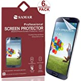 SAMAR® - Supreme Quality Samsung Galaxy S4 Crystal Clear Screen Protector (Pack of 6) Retail Packed - Includes Microfiber Cleaning Cloth
