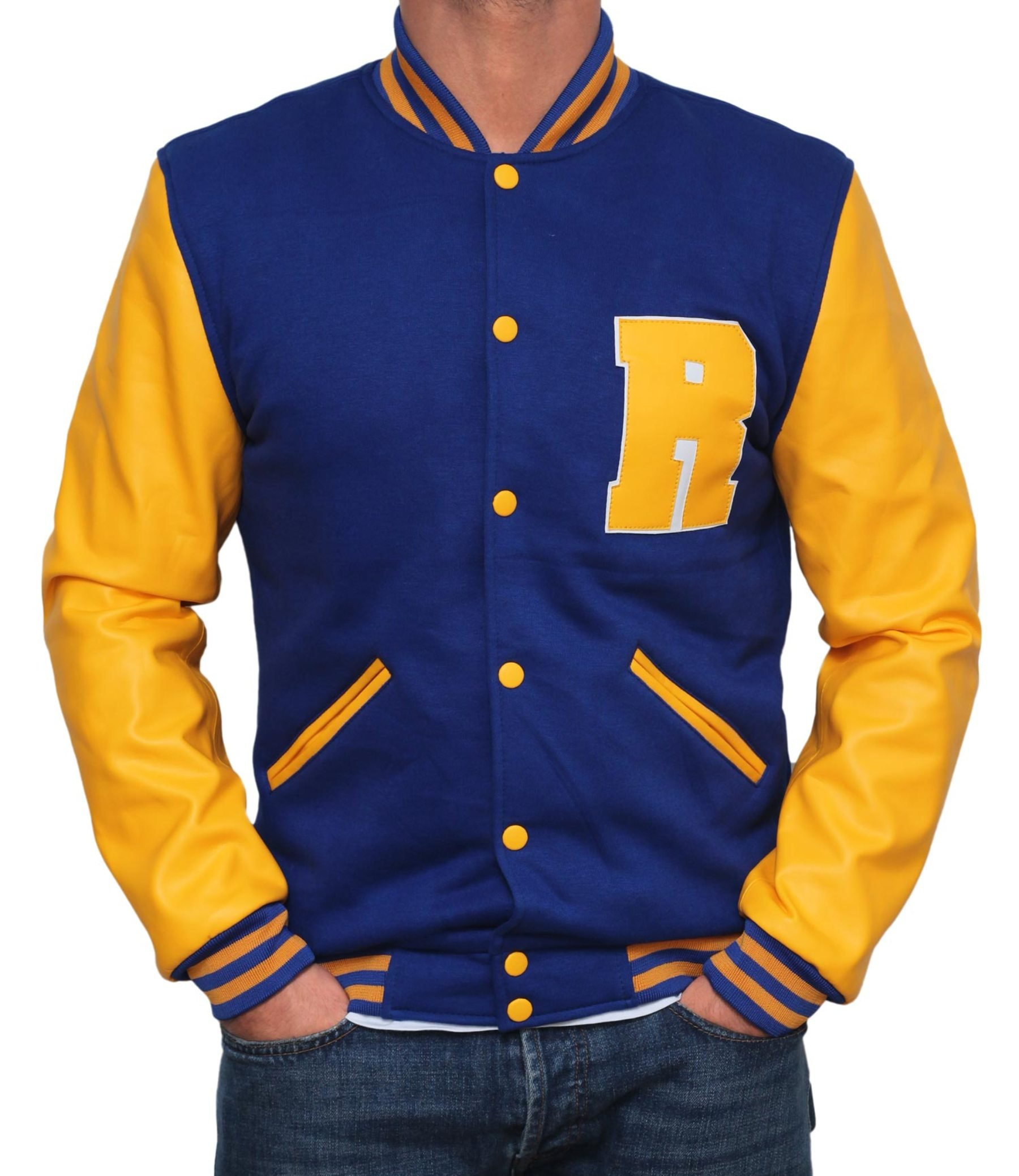 Decrum Men Riverdale KJ APA Archie Leather Jacket - Blue Varsity Jacket PU | XL by Decrum