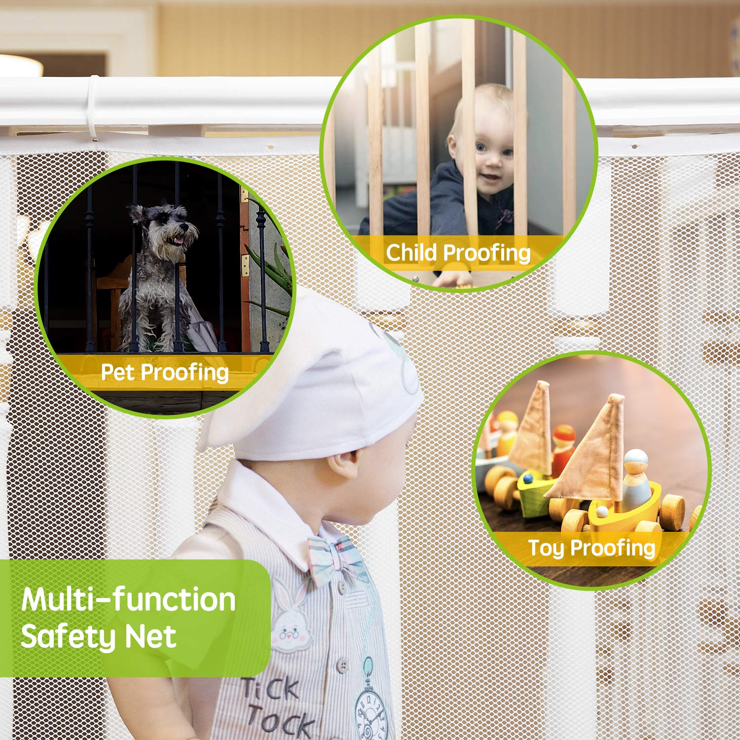 Pets Child Safety Net White Toys Banister Guard for Baby 10ft x 3ft Stair Railing Proof Mesh for Kids