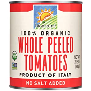 Bionaturae Whole Peeled Tomatoes | Organic Whole Peeled Tomatoes | Keto Friendly | Non-GMO | USDA Certified Organic | No Added Sugar | No Added Salt | Made in Italy | 28.2 oz (12 Pack)