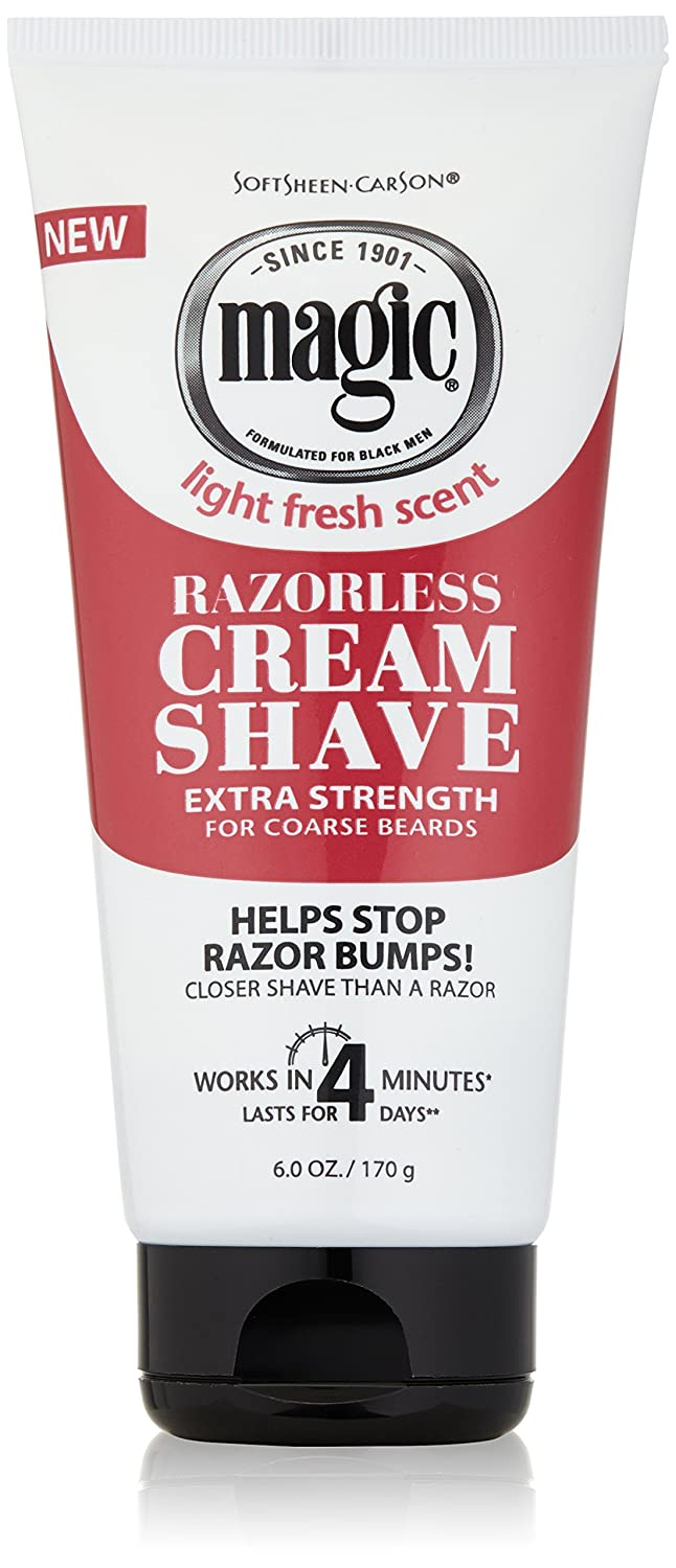 Magic Razorless Cream Shave Light Fresh Scent Extra Strength 6oz (6 Pack)