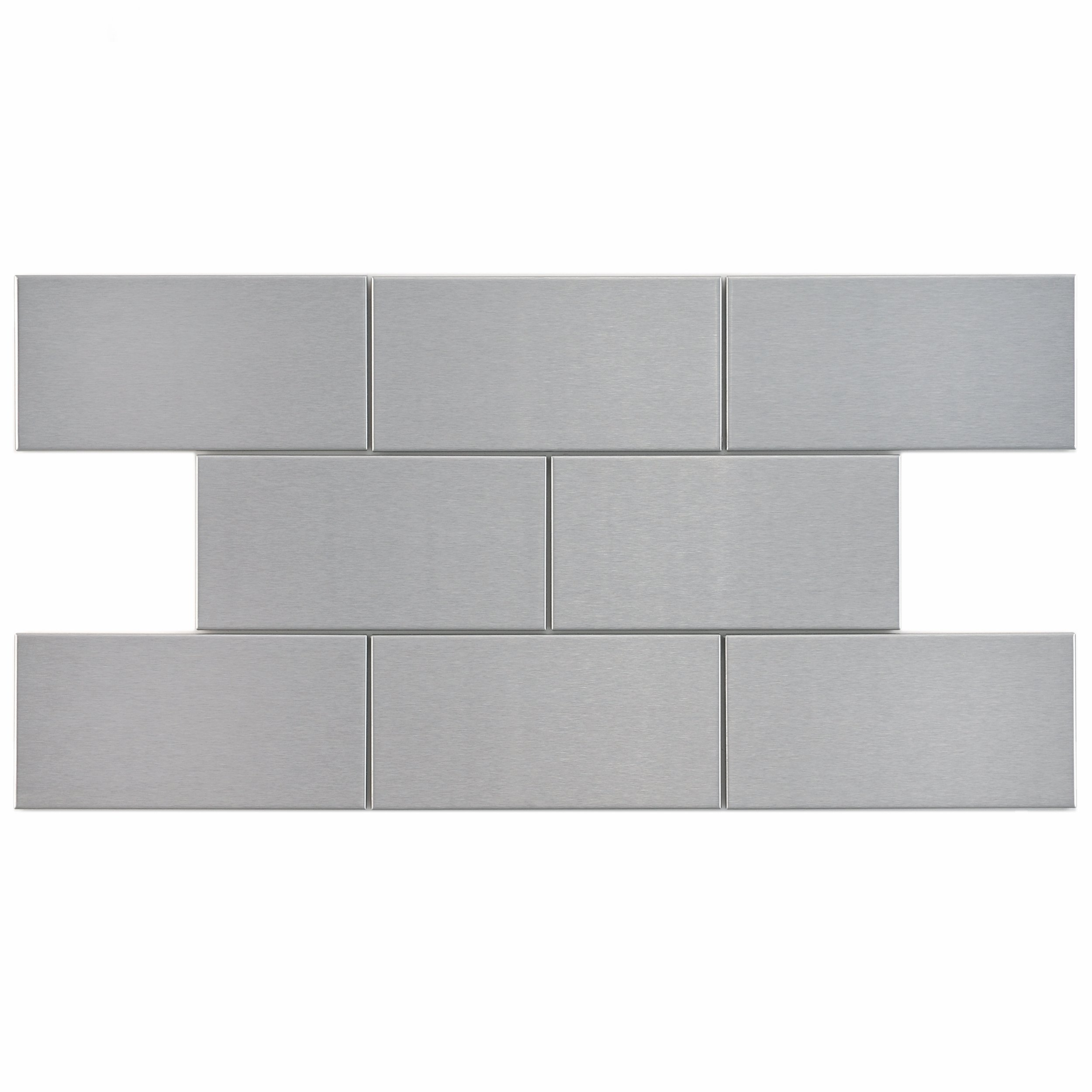 SomerTile GITAL3SS Vulcan Stainless Steel Metal Over Porcelain Wall Tile, 3'' x 6'', Silver by SOMERTILE (Image #1)