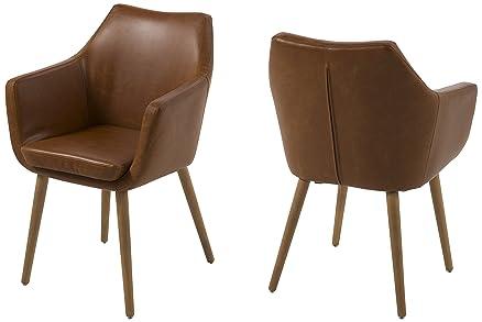 AC Design Furniture, Sedia imbottita in similpelle, con braccioli ...