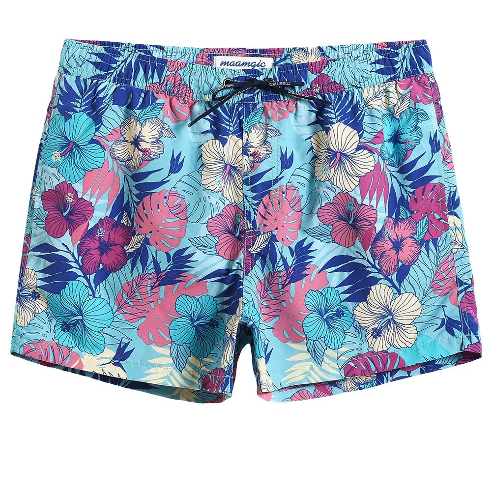 MaaMgic Mens 5'' Floral Short Swim Trunks with Mesh Lining Quick Dry Bathing Suits Swimming Shorts Swimsuit by MaaMgic