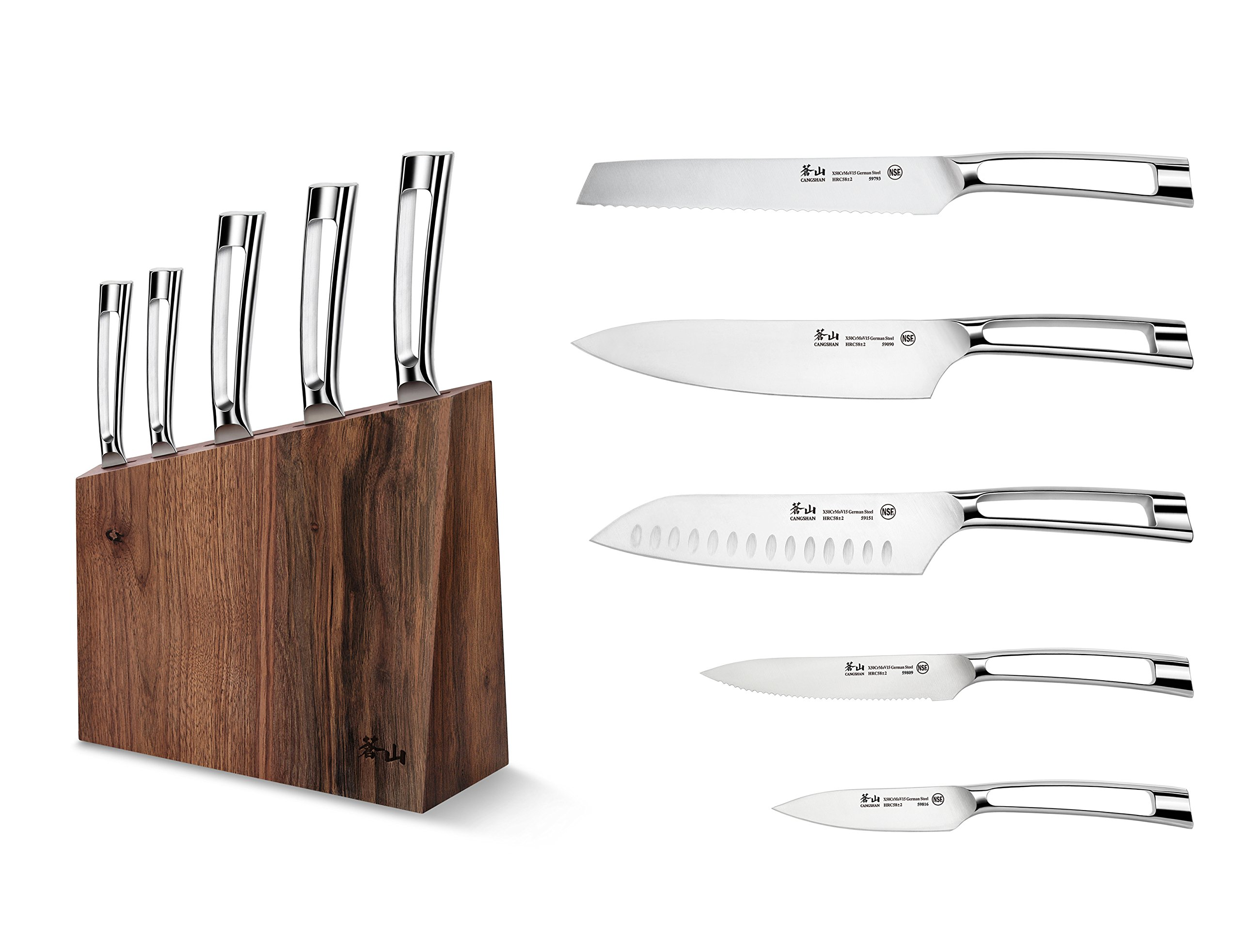 Cangshan N1 Series 61017 6-Piece German Steel Forged Knife Block Set, Walnut Block by Cangshan (Image #1)