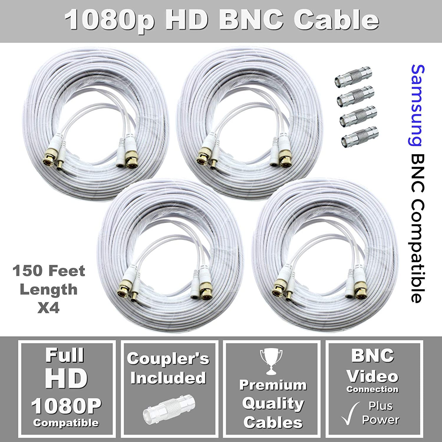 150ft Premium Cable for Samsung SDC-9443BC 1080P HD BNC Camera