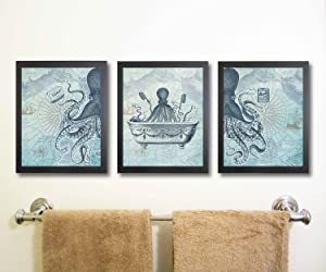 Silly Goose Gifts Octopus Funny Vintage Bath Image Nautical Wall Art Prints (Set of 3) Bathroom (Blue)