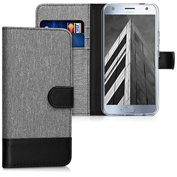 more photos a26f5 ef94a kwmobile Wallet Case for Motorola Moto X4 - Fabric and PU Leather Flip  Cover with Card Slots and Stand - Grey/Black