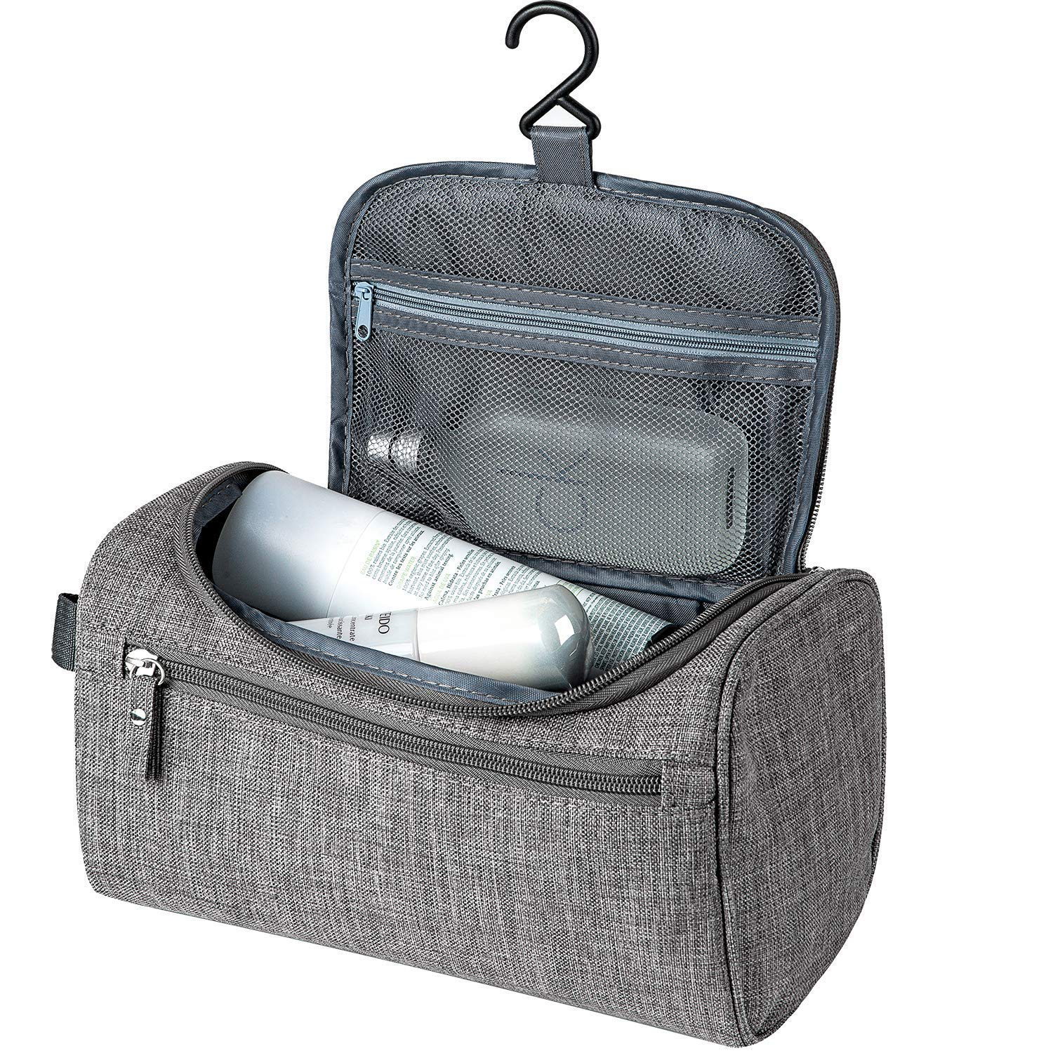 Travel Toiletry Bag for Men Women, Hanging Dopp Kit Waterproof Shaving Bag, Toiletry Organizer Wash Bag for Bathroom Shower, Makeup Cosmetic Bags for Toiletries Trip Accessories, TSA Approved, Grey