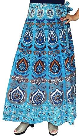 26f076bde Women's Printed Long Cotton Wrap Around India Skirt (Blue) at Amazon  Women's Clothing store: