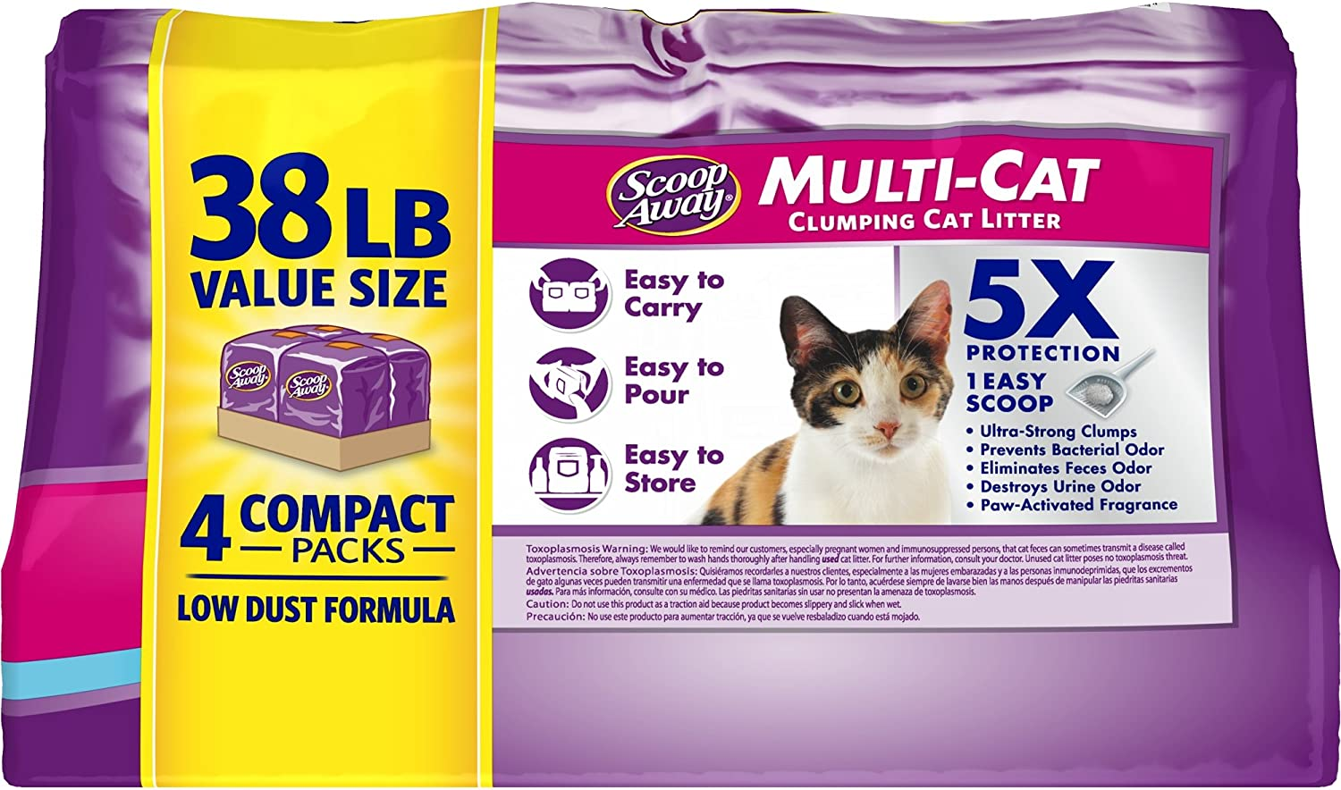 38 Pounds Scoop Away Multi-Cat Scented Cat Litter pack of 3