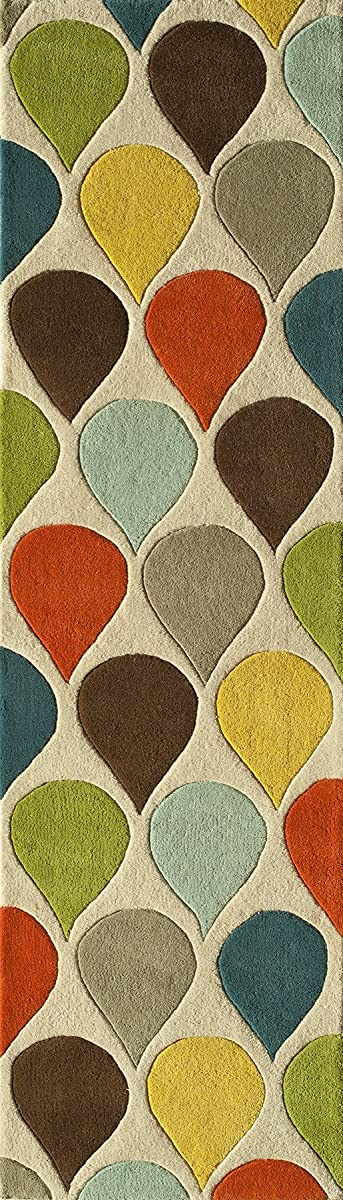 """Momeni Rugs DELHIDL-54MTI2380 Delhi Collection 100% Wool Hand Carved & Hand Tufted Contemporary Area Rug, 23"""" x 80"""" Runner, Multicolor"""