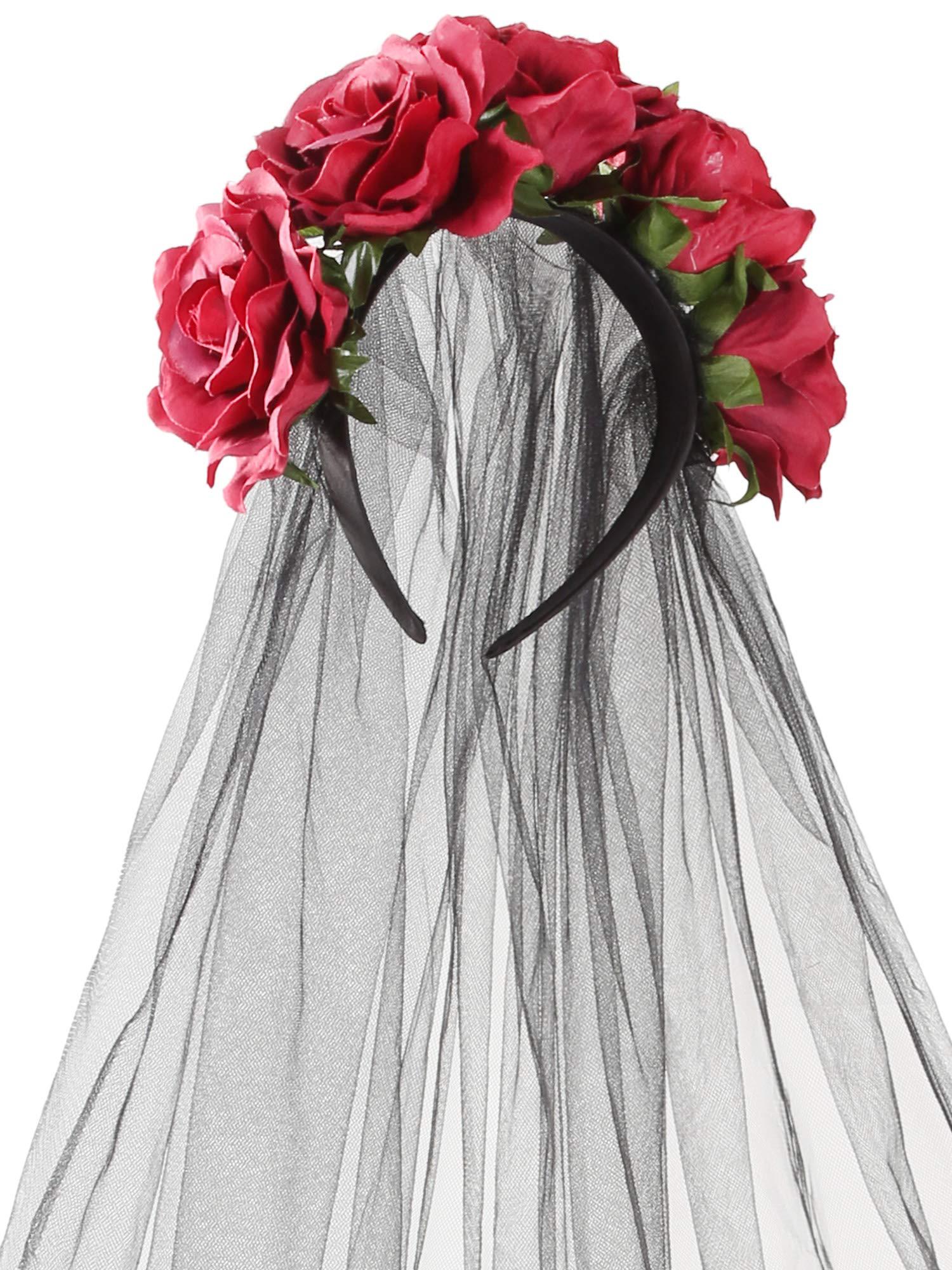 Jovitec Rose Headband Floral Crown Flower Veil Headpiece for Day of The Dead Halloween Costume (Burgundy)