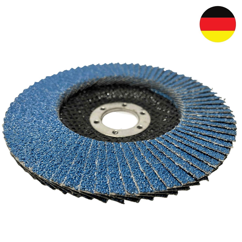 Fexa Schleifscheiben Winkelschleifer Set 125mm /Ø INOX Blau mit Korn 40//60 // 80 f/ür Metall /& Edelstahl 10x Premium F/ächerscheiben