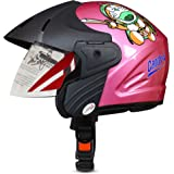 ACTIVE Junior Open Face Face Helmet for Kids from 3 to 6 Years (PINK,Size-Extra Small)(CARTOON CHARACTERs MAY VERY) (PINK)