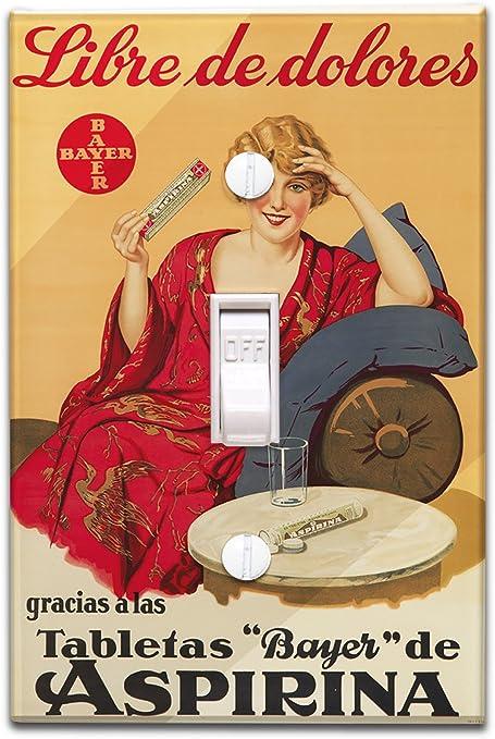 Bayer aspirina Vintage Póster de España C. 1929 (luz Switchplate ...