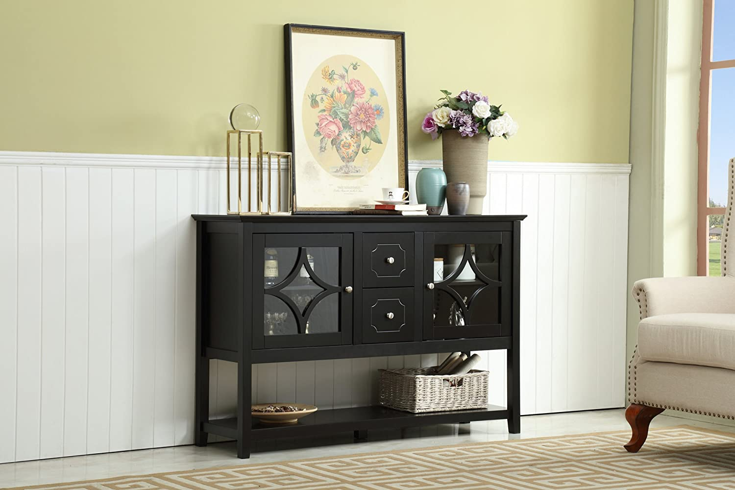 Mixcept 52 Sideboard Buffet Cabinet Wood Console Table Storage Cabinet with 2 Doors and Drawers, Black