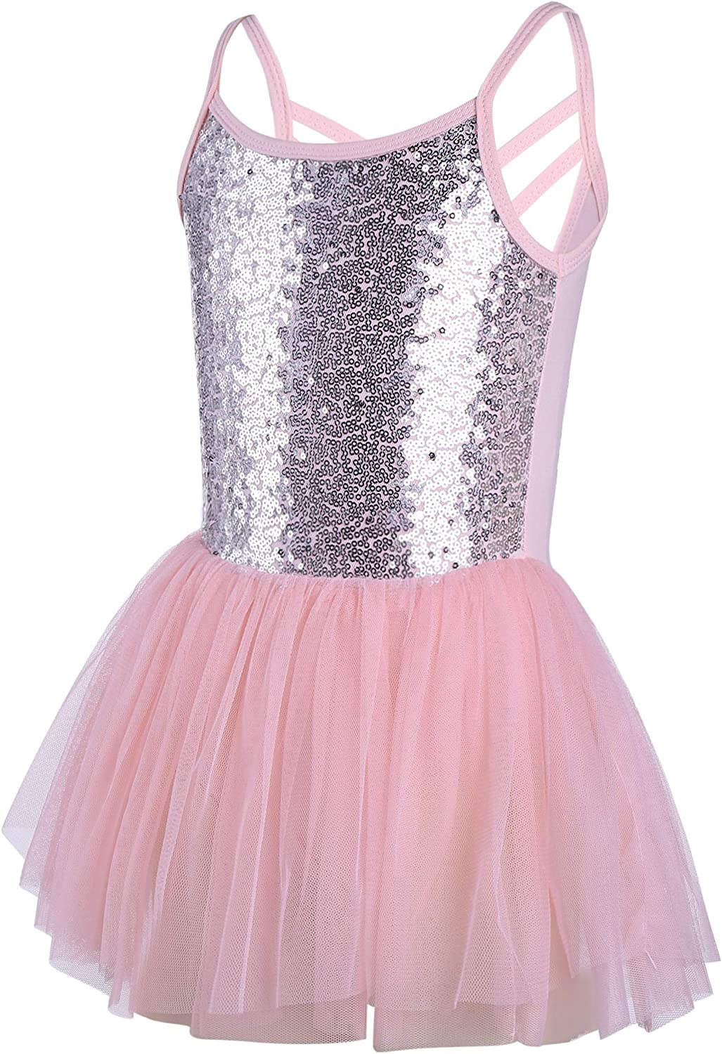 Zaclotre Girls Cross Strap Tutu Skirted Leotard Glitter Ballet Dance Dress