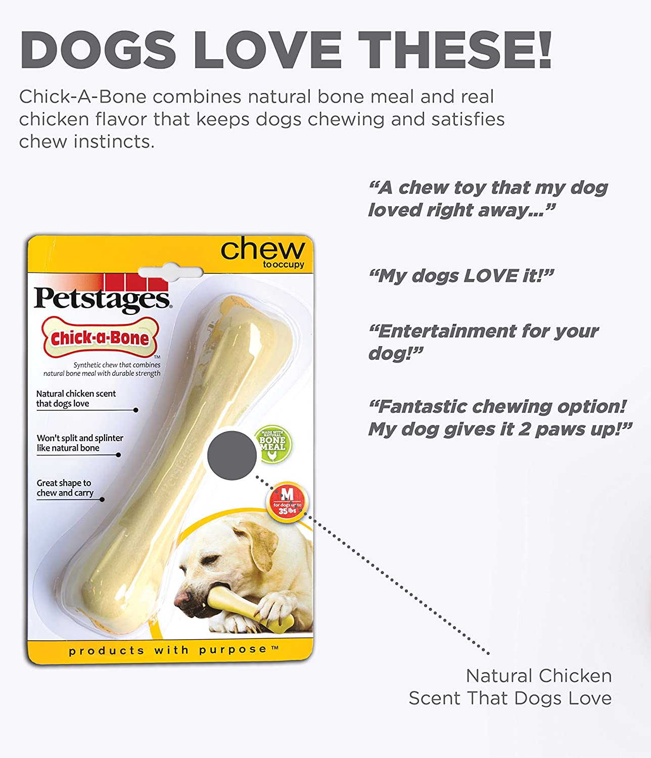 Large Petstages Chick-A-Bone Chicken Flavored Durable Safe Dog Chew Toy