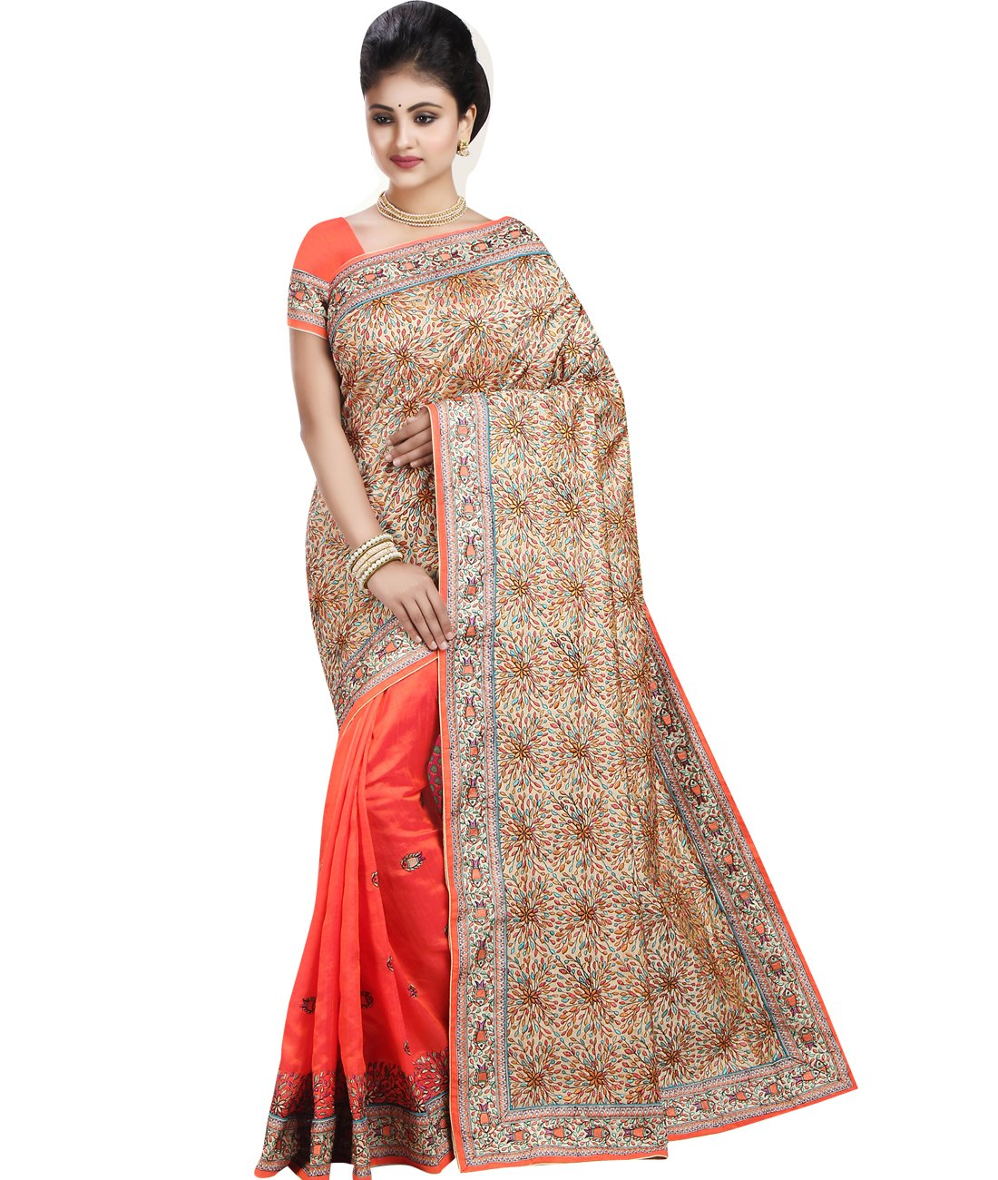 Maahir Garments Exclusive Indian Ethnicwear katha-Stitched Art Banglory Silk Beige and Dark Orange coloured Saree