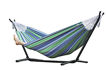 vivere double cotton oasis hammock with stand   multi colour vivere double cotton oasis hammock with stand   multi colour      rh   amazon co uk