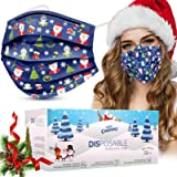 Disposable Face Masks, Face Masks of 50 Pack Disposable Mask-Christmas children-(Blue)