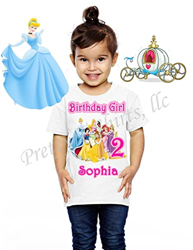 Princess Disney Birthday Shirt ADD Any Name And Age Party FAMILY Matching Shirts Belle Cinderella Aurora Tiana
