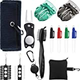 Golf Accessories Gift Set Microfiber Towel Golf Club Groove Brush Divot Repair Tool with Ball Marker, Ball Line Liner Ball Marking Tool Alignment Tool and Golf Tee Holder, Golf Club Cleaning Kit