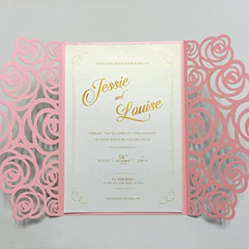 amazon com picky bride bridal shower invites laser cut rose wedding