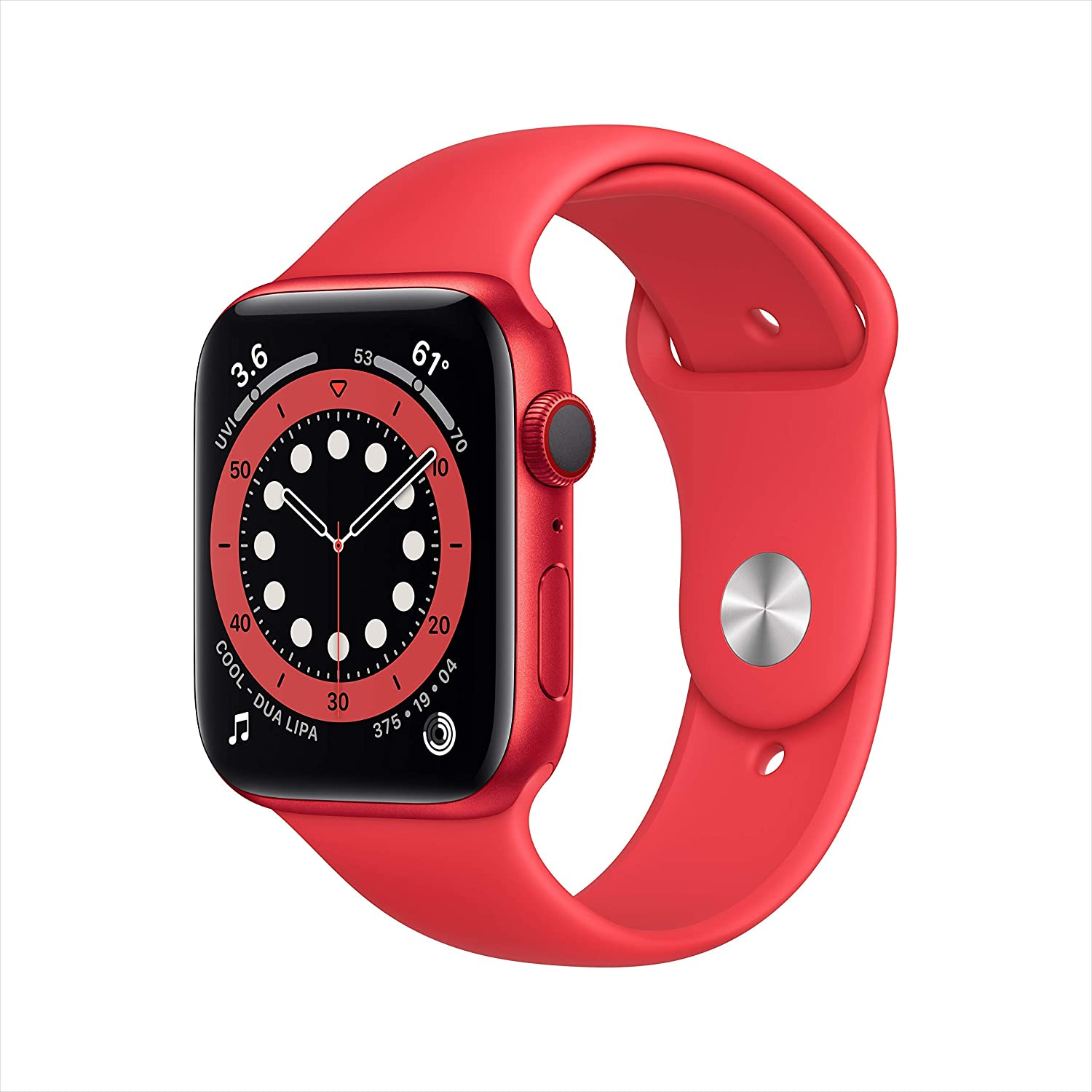 Apple Watch Series 6 (GPS + Cellular, 44mm) - (Product) RED Aluminum Case with RED Sport Band (Renewed)